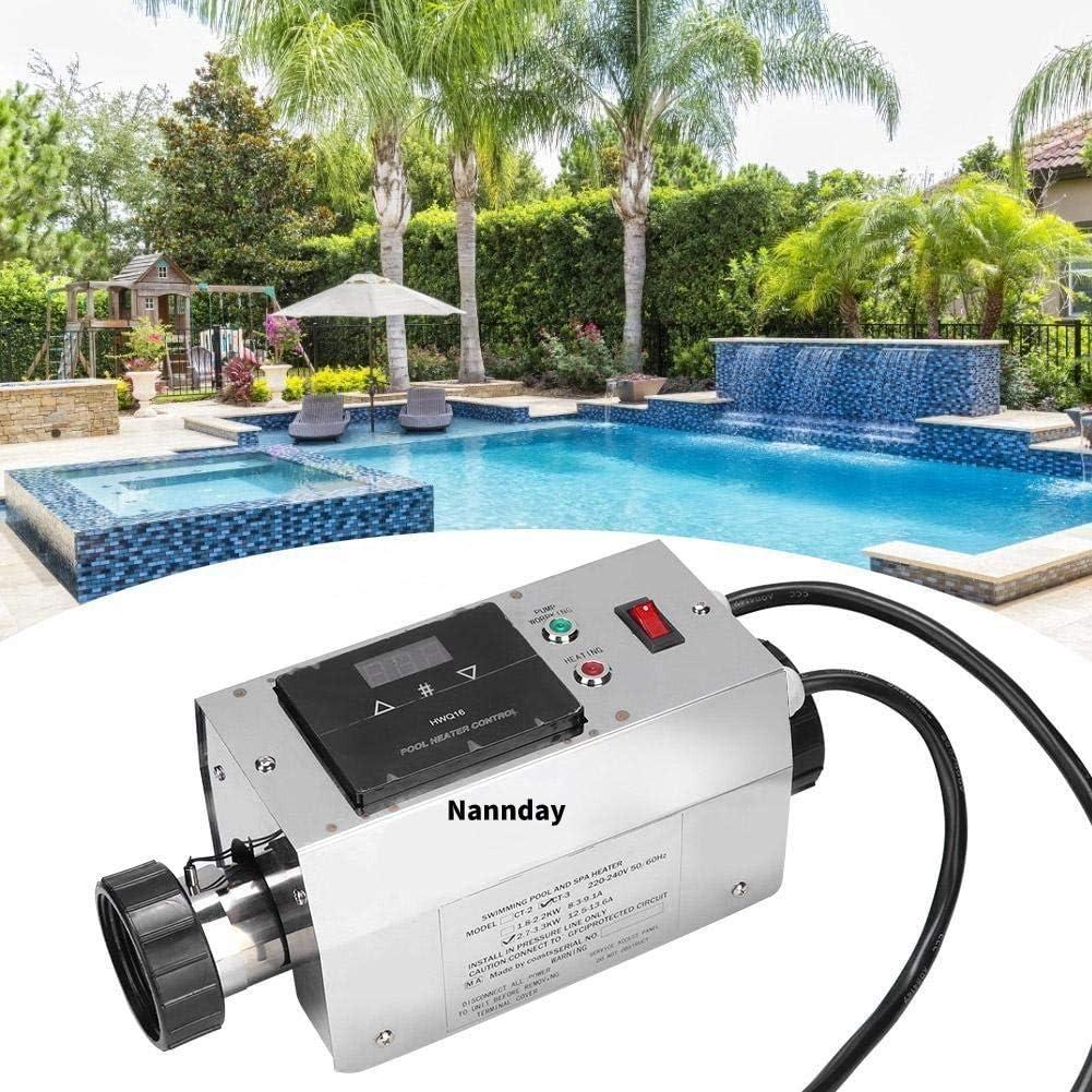 Nannday Termostato de Piscina eléctrica, 3KW 220V Impermeable Calentador de Piscina Termostato Piscina SPA Bañera de hidromasaje Calentador de Agua eléctrico Asistente de Bomba Termostato Digital(EU)
