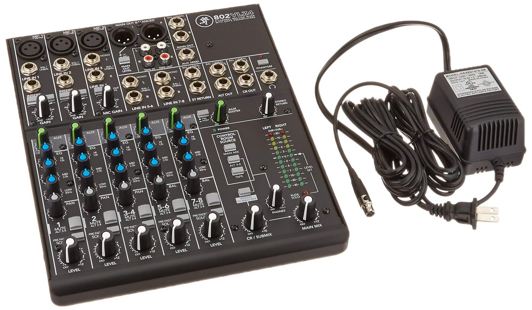 Mackie 802VLZ4, 8-channel Ultra Compact Mixer with Onyx Preamps (Renewed)