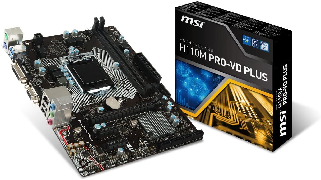 MSI Computer Intel H110 LGA 1151 DDR4 USB 3.1 Micro ATX Motherboard (H110M PRO-VD Plus)