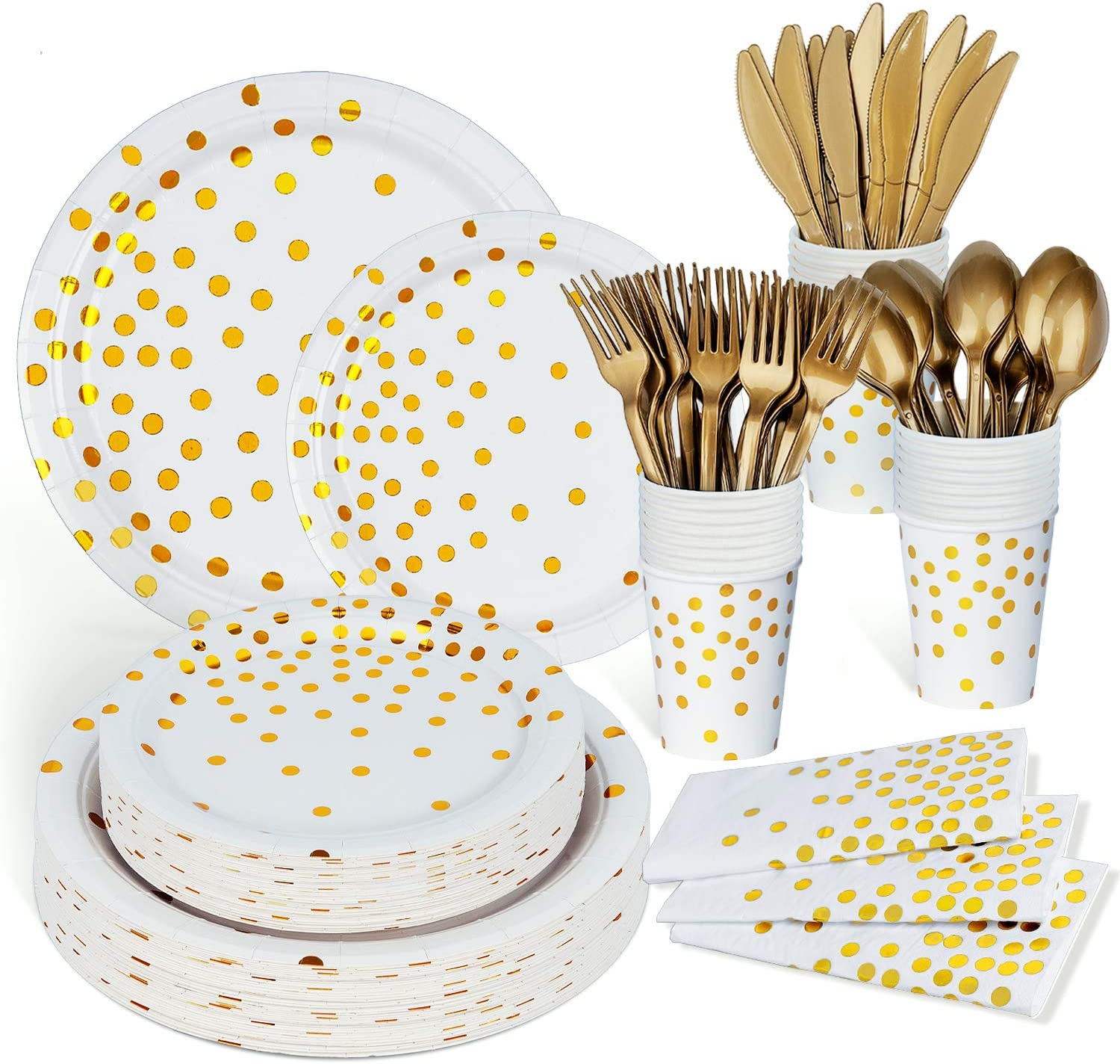 450PCS Party Plates and Napkins Sets for 50, White and Gold Birthday Party Supplies, Including 100 Pack Napkins, Plates, Cups, Utensils for Baby Shower