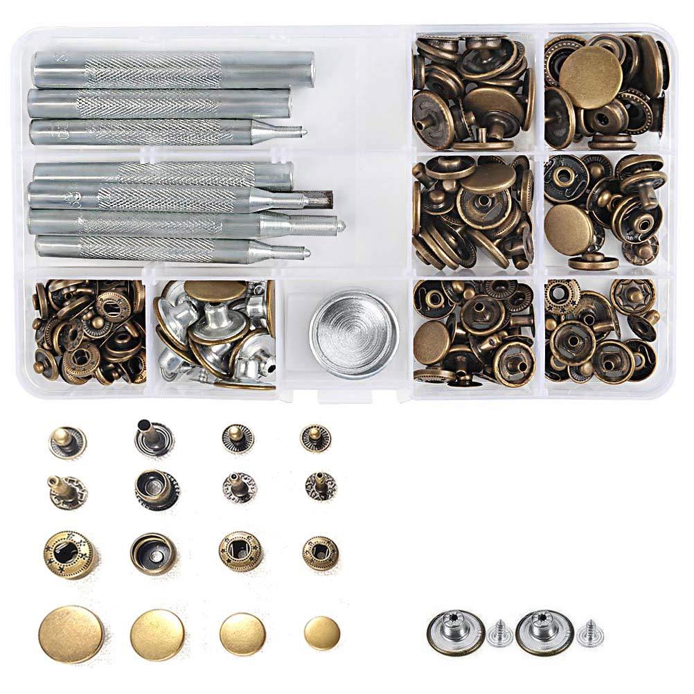 50 Juego de broches met/álicos 17 mm Jeans Botones met/álicos 15 mm Bot/ón a presi/ón 12 mm 10 mm Press Studs con 9 piezas Herramientas de fijaci/ón Silver