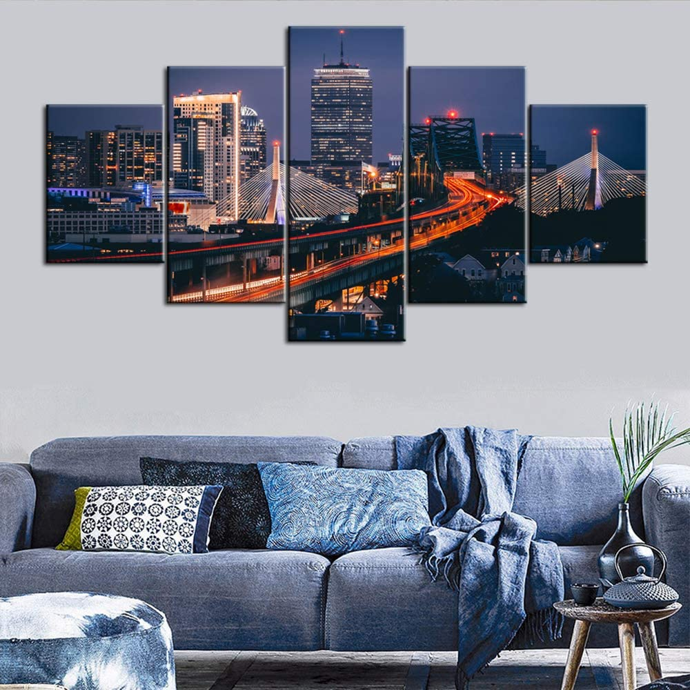 Native American Painting Boston Skyline Pictrues USA Cityscape Wall Art 5 Panel Canvas Contemporary Artwork Home Decor for Living Room Giclee Wooden Framed Gallery-wrapped Ready to Hang(60''Wx32''H)