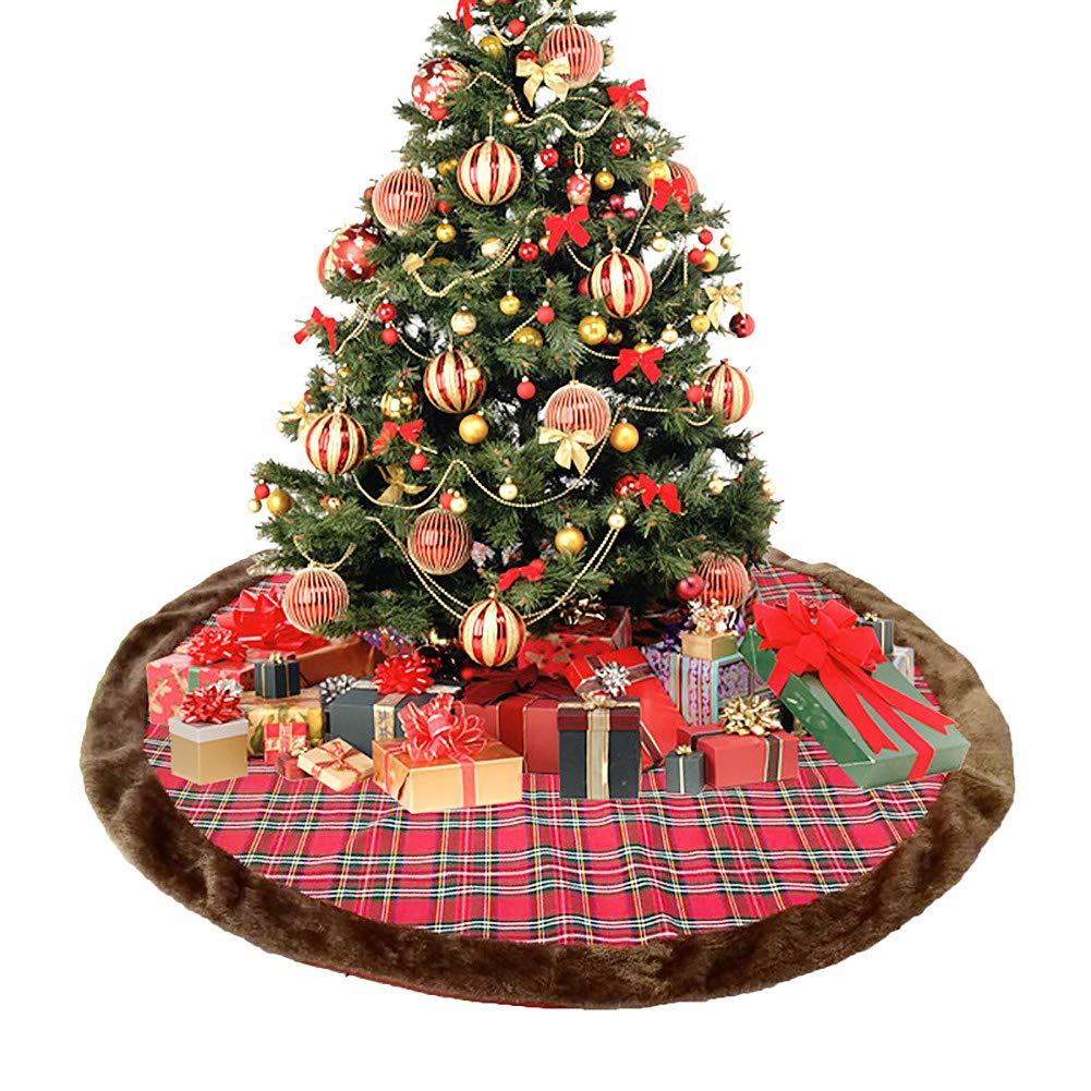Lomohoo Gonna Albero Natale Rosso e Derato Plaid Grande Gonna per Albero di Natale Decorazione Natalizia 120cm