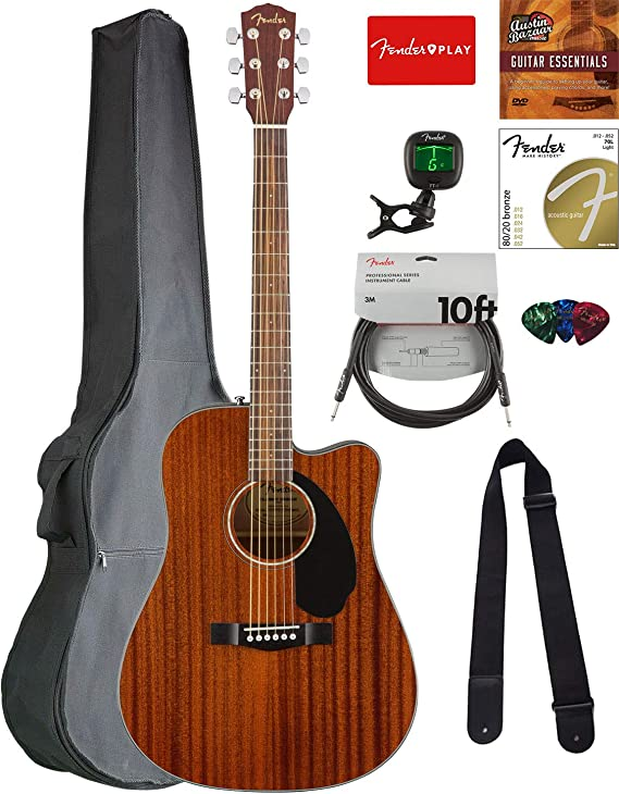 Fender CD-60SCE Dreadnought Acoustic-Electric Guitar - All Mahogany Bundle with Gig Bag