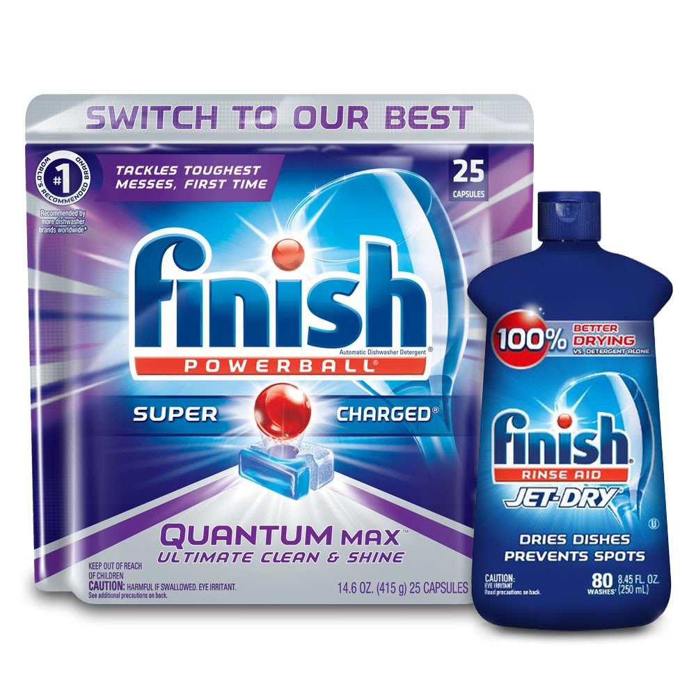 Finish Quantum 25ct + Finish Jet-Dry Rinse-Aid 8.45oz