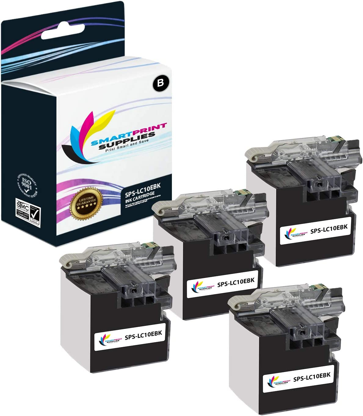 Smart Print Supplies Compatible LC10E LC10EBK Black Super High Yield Ink Cartridge Replacement for Brother MFC-J6925DW Printers 2,400 Pages 4 Pack
