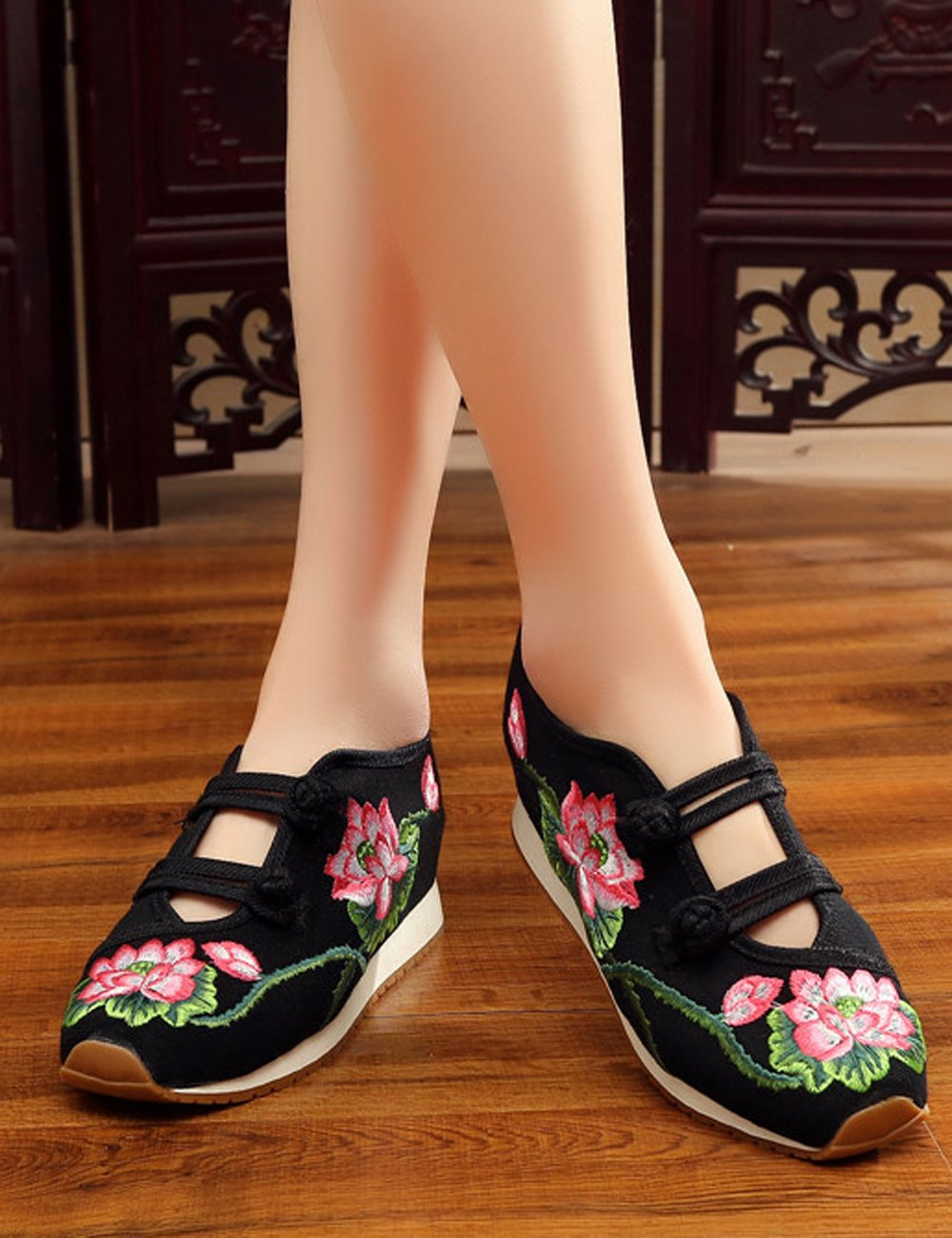Womens Canvas Lotus Embroidered Cloth Shoes Increased Fashion Flats Casual Walking Sneakers Fashion Increased Traveling Shoes B01M3P5Z1X 7 B(M) US|Black 65e912