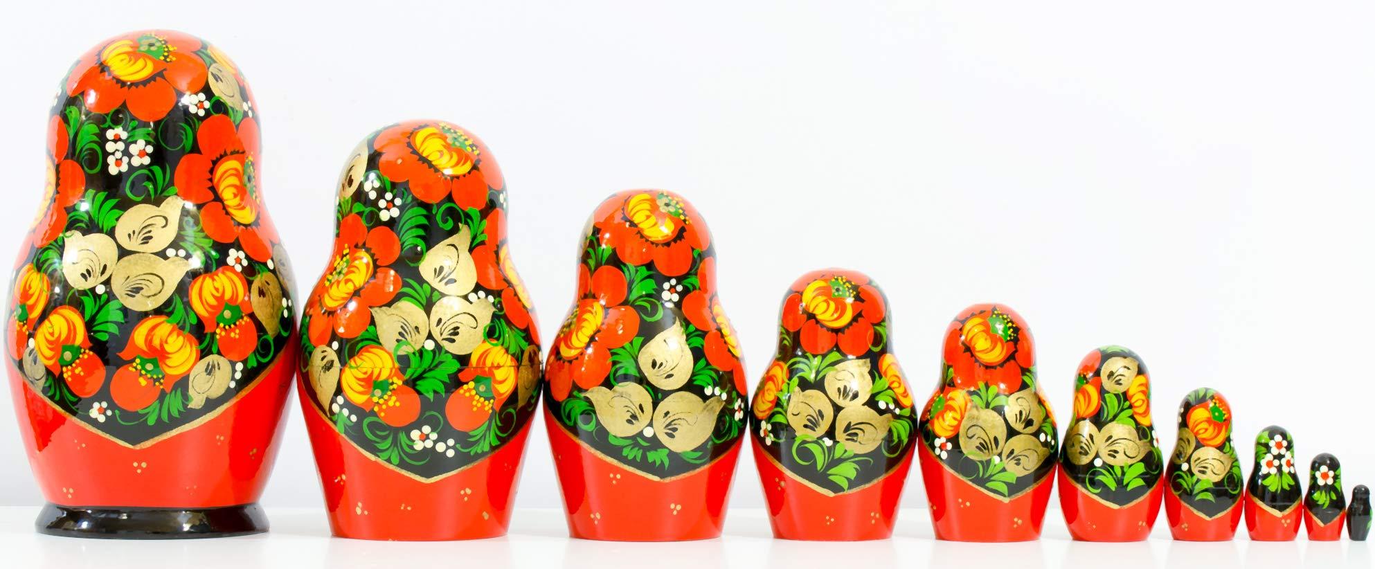 Russian Nesting Doll - Kirov - VJATKA - Hand Painted in Russia - Big Size - Wooden Decoration Gift Doll - Matryoshka Babushka (Style C, 8.25``(10 Dolls in 1)) by craftsfromrussia (Image #5)