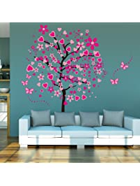 ElecMotive Huge Size Cartoon Heart Tree Butterfly Wall Decals Removable Wall  Decor Decorative Painting Supplies U0026