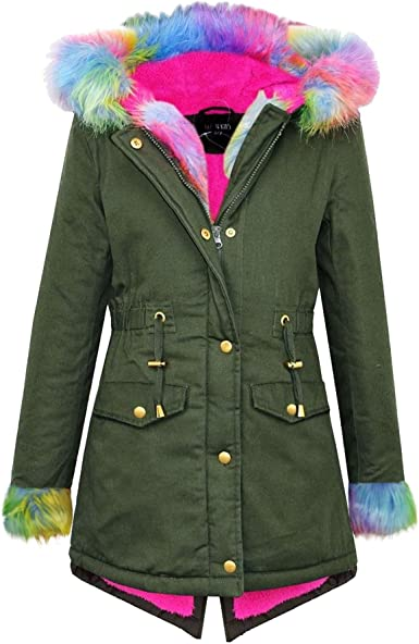 Kids Girls Hooded Jacket Rainbow Faux Fur Parka School Jackets Outwear Coat 2-13