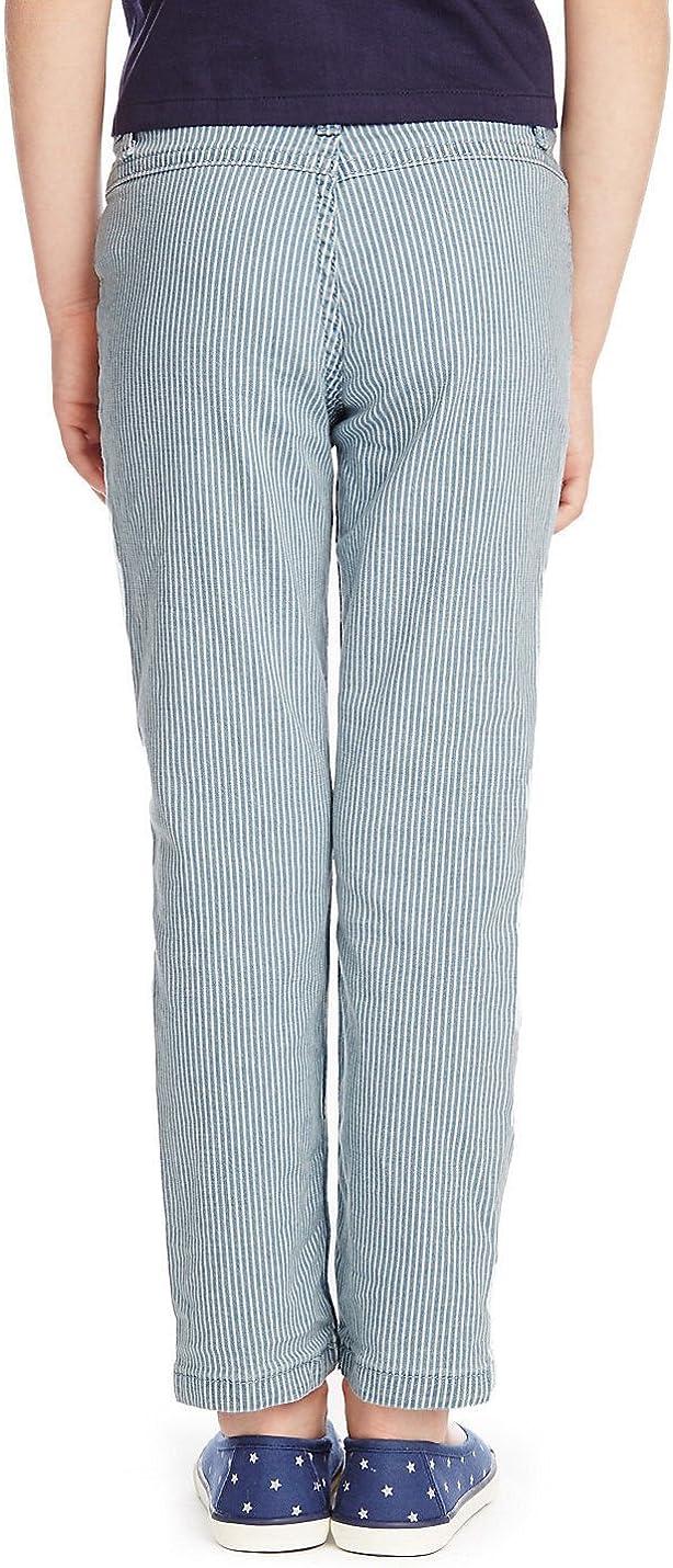 Ex Highstreet Girls Kids Striped Straight Leg Denim Jean Trouser