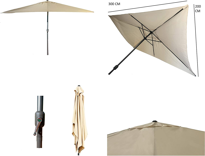 Parasol de Aluminio con ventilación para terraza, Jardin de 300 x 200 cm 6 Varillas mastin Central de 38 mm (Beige 3x2 Rectangular)