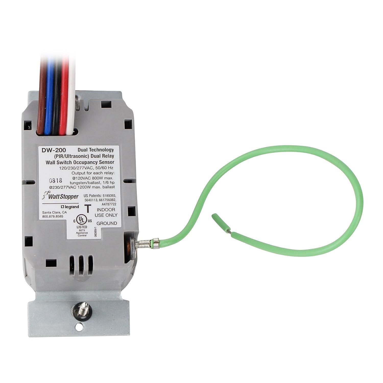 wattstopper dw-200-g, sensor de movimiento Dual Tech Interruptor de pared Sensor de ocupación, 800/1200 W, 120/277 V - gris: Amazon.es: Bricolaje y ...