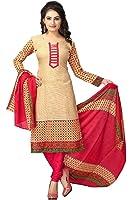 Jashvi Creation Women's Printed Unstitched Regular Wear Salwar Suit Dress Material(JC_DM_Beige)