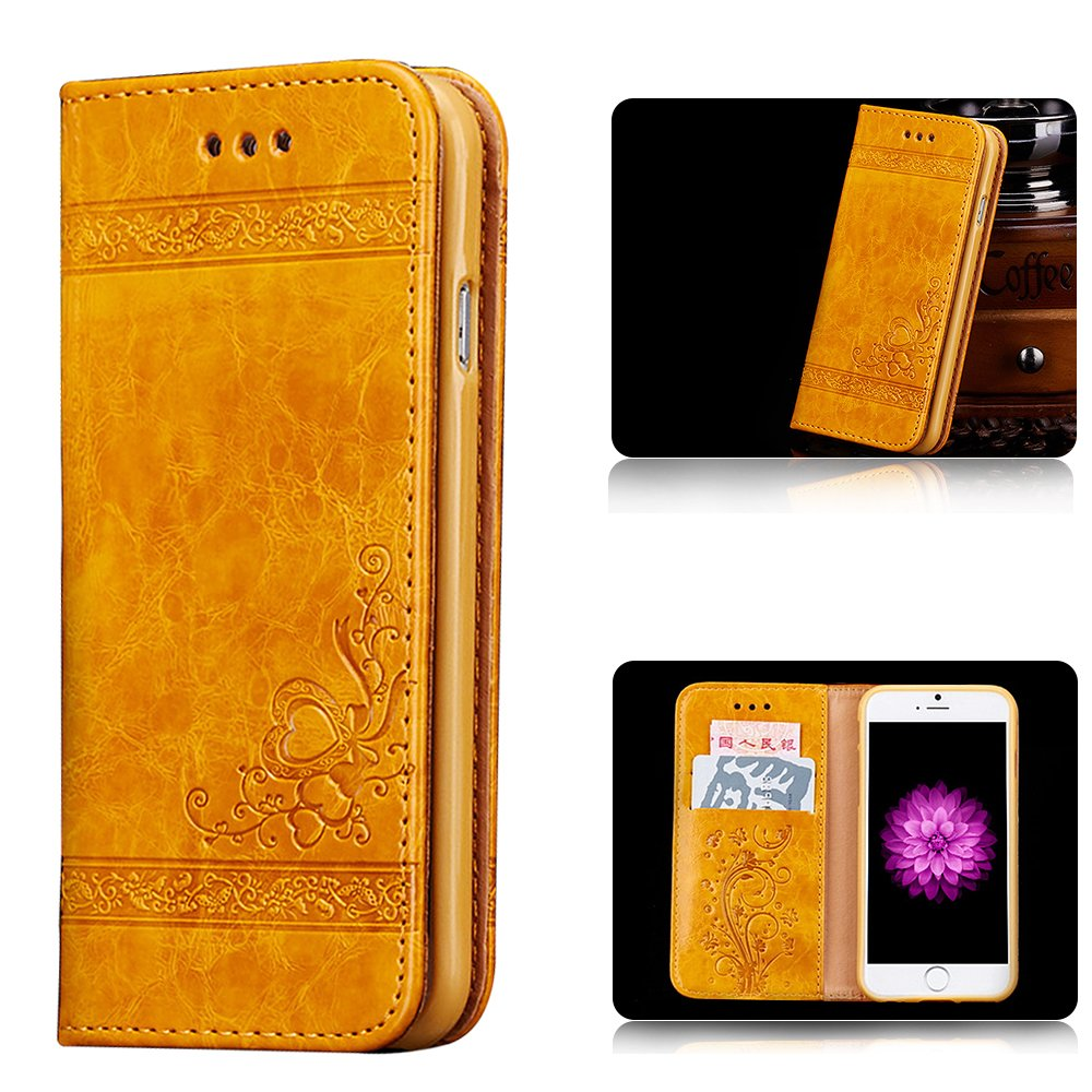 Cover iPhone 7, iPhone 8 Pelle Cover Custodia, PLECUPE Retro Design Relief Sbalzato Fiore Love Heart Modello Magnetico Folio Flip Wallet PU Cuoio Libro Cover Caso con Stand Card Slots Ultra Sottile Anti-Graffio Full Body Protettivo Case Custodia Copertina