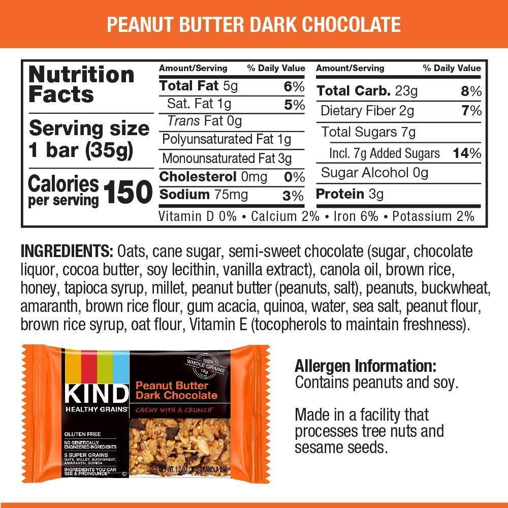 KIND Healthy Grains Granola Bars, Peanut Butter Dark Chocolate, Gluten Free, 1.2 oz, 30 Count by KIND (Image #6)