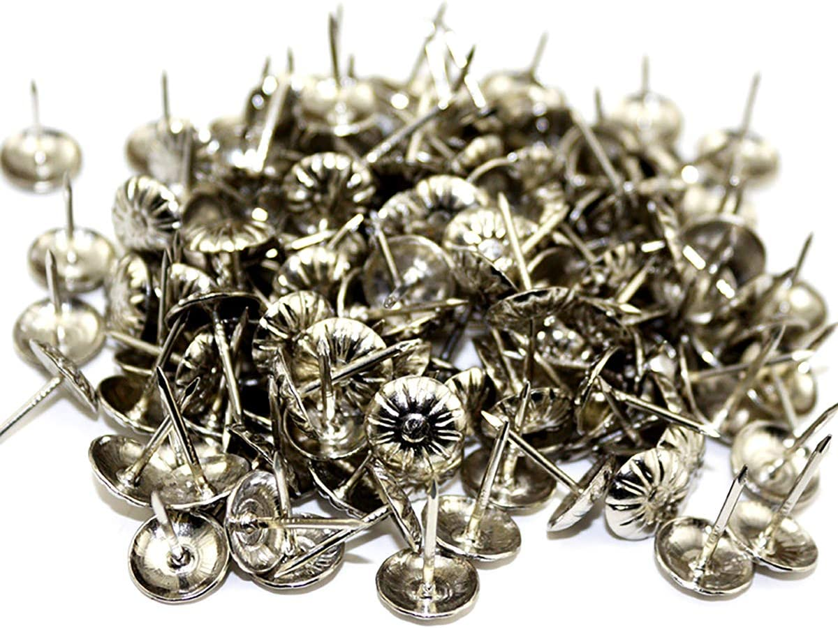 Queenbox 100 Pcs Upholstery Nails, 7/16 x 5/8 in Iron Decorative Furniture Tacks humb Tack Push Pin for DIY Sofa Wooden Furniture headboards Board, Silver