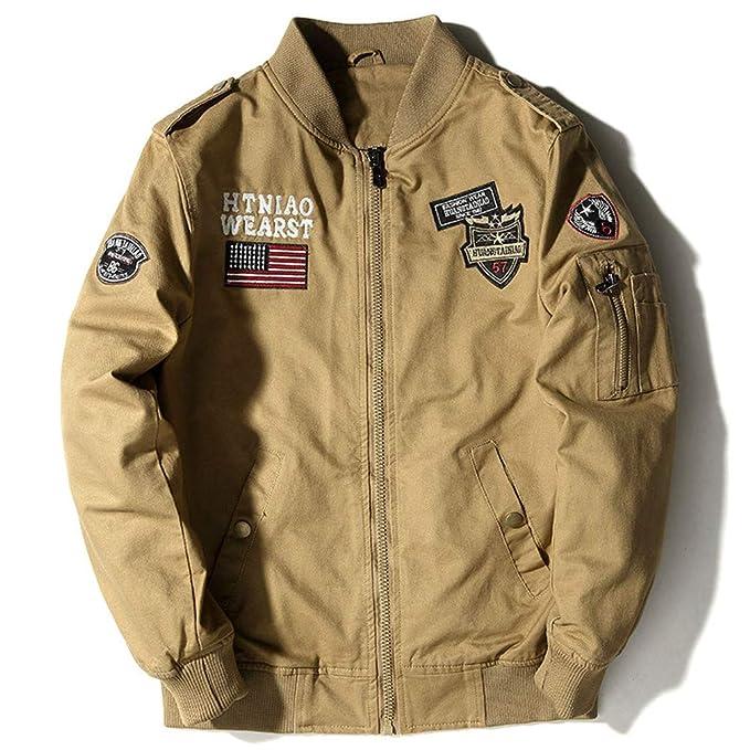 Estilo Militar Piloto Aerotransportado Hombres Táctico Vuelo Ejército Chaqueta Otoño Nosotros Bandera Fuerza Aérea Motocicleta Abrigo de Algodón 4XL: ...