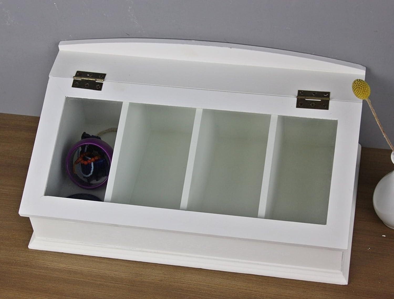 elbmöbel Besteck-Kasten mit Glasdeckel Holz, weiß, Kapselspender für ...
