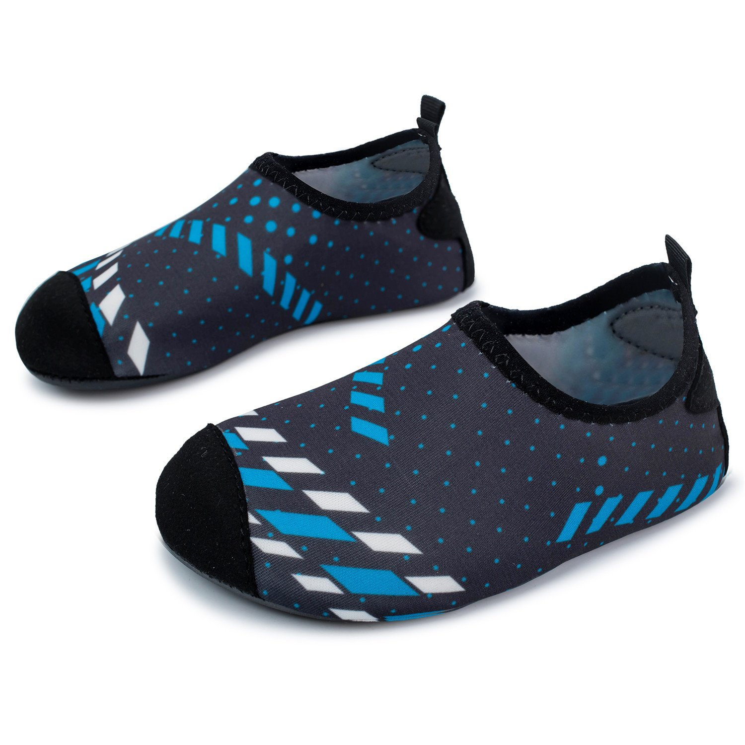 L-RUN Toddler Water Shoes Outdoor Boy's Swims Aqua Shoes Black Blue US 3-4=EU 18-19
