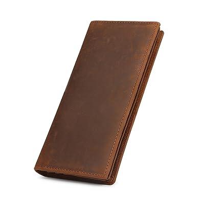 36542f5adc41 Kattee Men's Vintage Genuine Leather Long Wallet for Checkbook, Credit Cards  (Large, Brown
