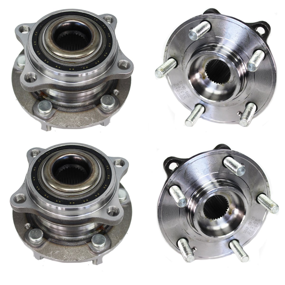 Detroit Axle - Front & Rear Wheel Bearing and Hub Assembly Set for 2007 2008 2009 2010 2011 2012 2013 2014 2015 2016 Hyundai Santa Fe AWD - [2007-2012 Hyundai Veracruz AWD] - 2011-2015 KIA Sorento AWD