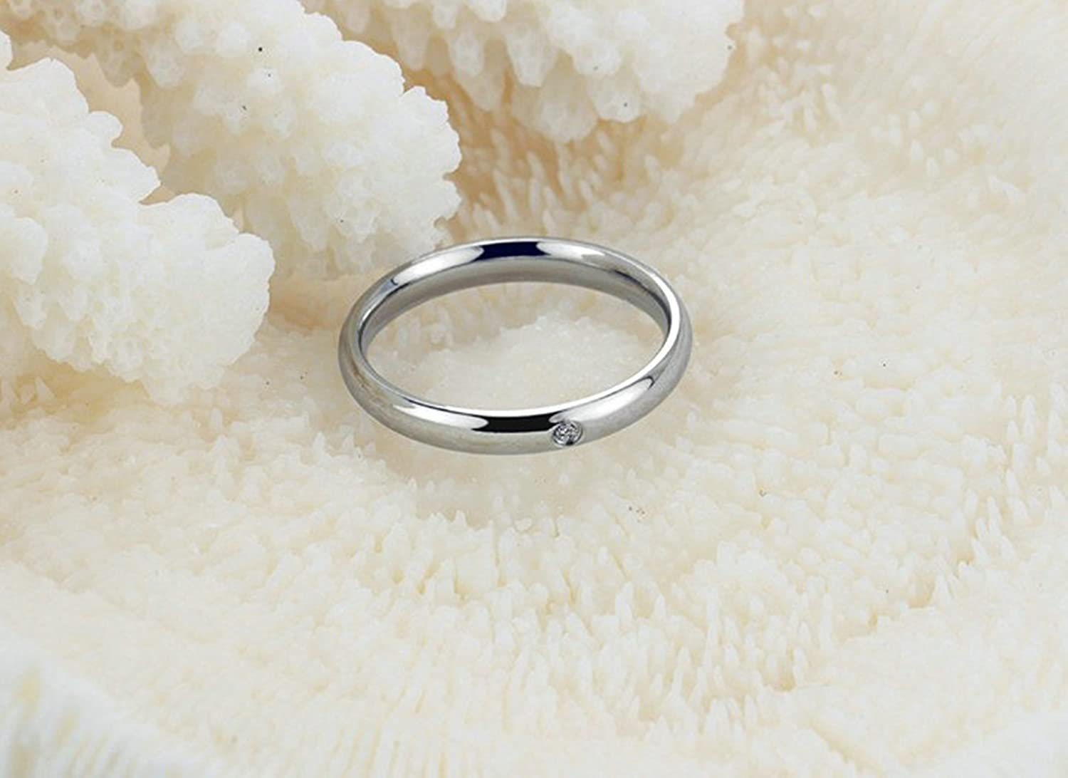 Epinki Rose Gold Plated Women Ring Z Ring Blue Bead Eternity Ring Wedding Band Women Accessories