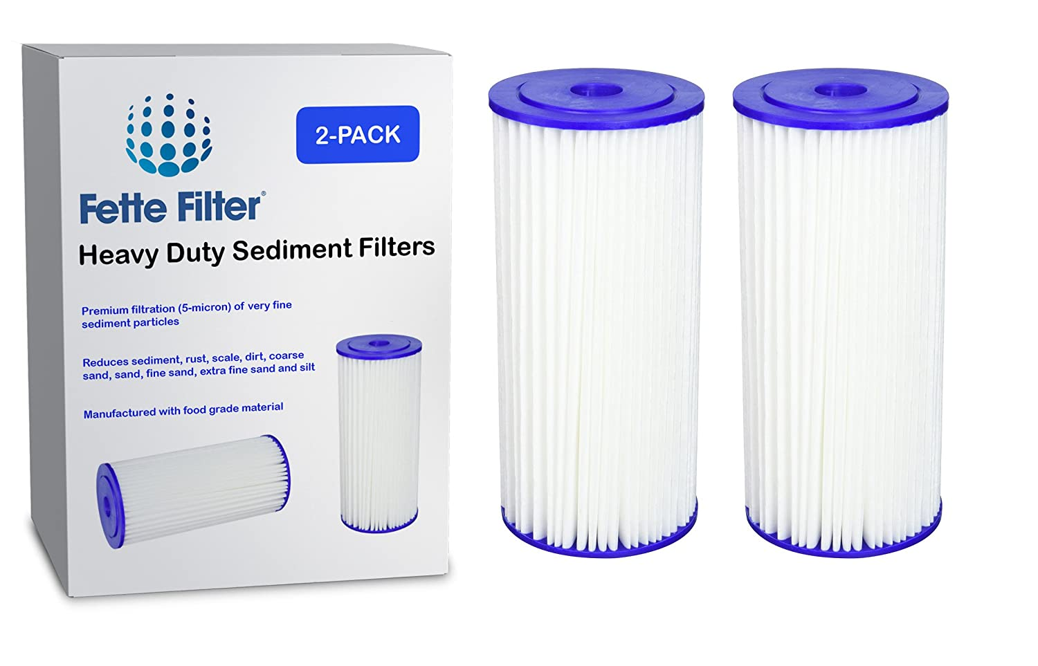 Fette Filter - Heavy Duty Sediment Filter Compatible with Culligan R50-BBSA. Also Compatible with GE FXHSC, Pentek R50-BB and Dupont WFHDC3001. Whole House Filters. (2-Pack)