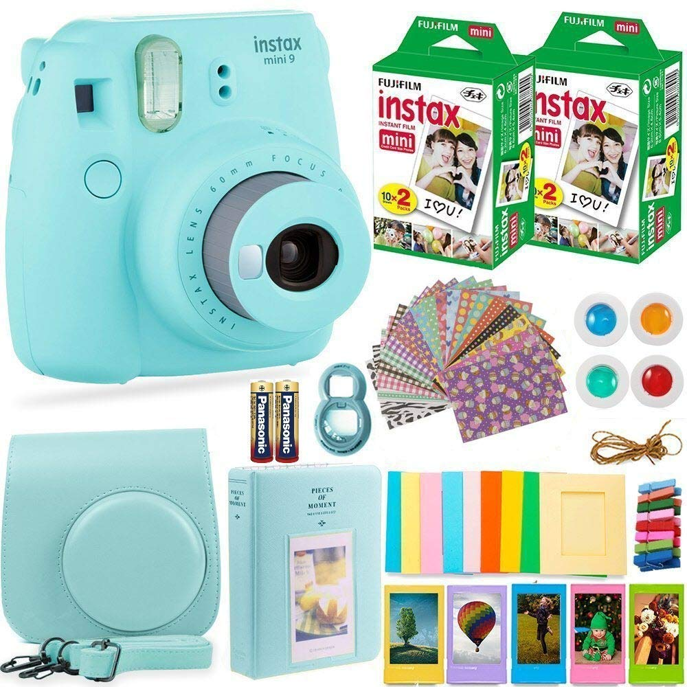 Fujifilm Instax Mini 9 Instant Camera + Fuji Instax Film (40 Sheets) + Batteries + Accessories Bundle - Carrying Case, Color Filters, Photo Album, Stickers, Selfie Lens + More (Ice Blue)