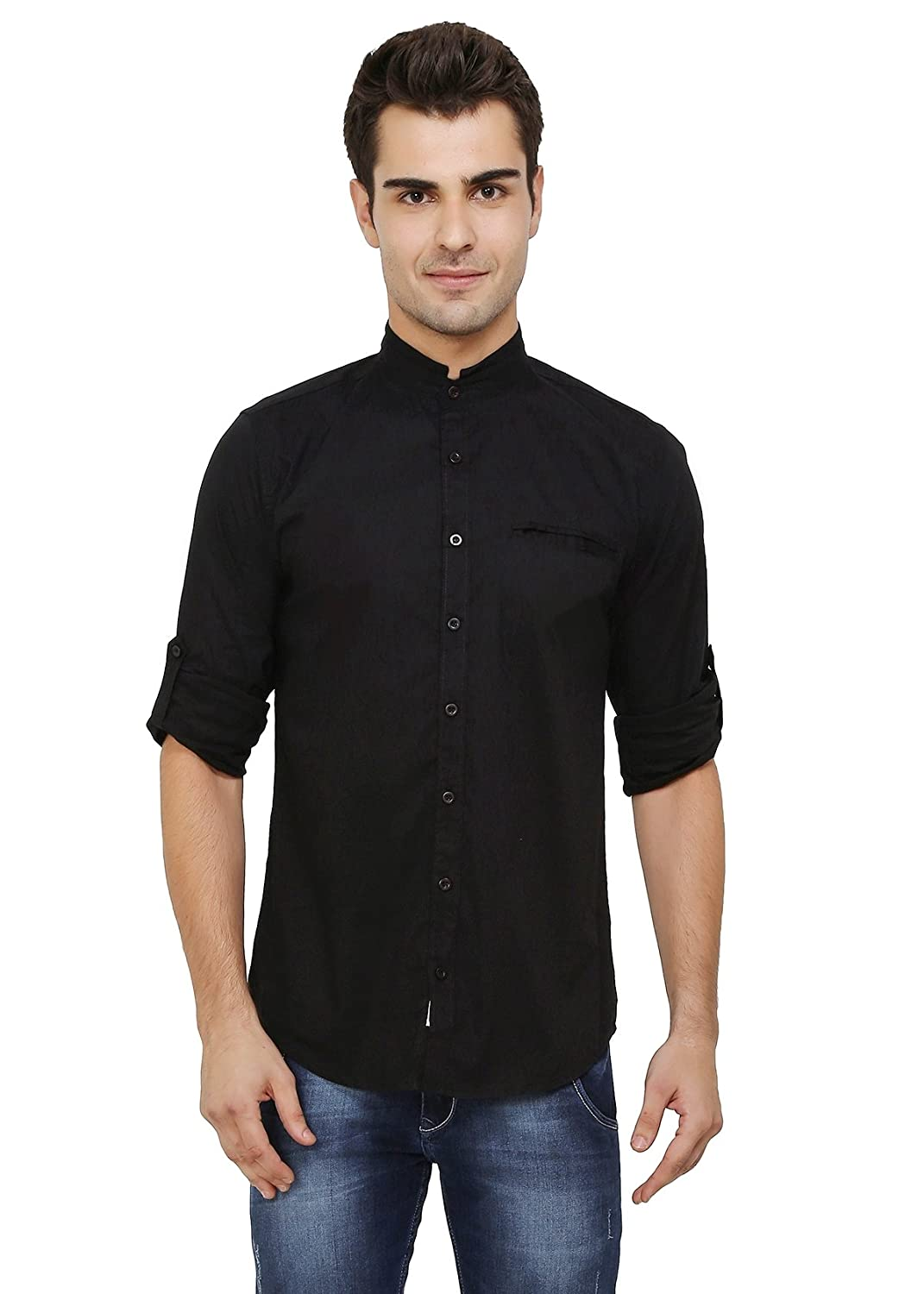 TALLA S(Chest:39in). nick&jess - Negro Camisa Casual - Básico - Cuello Mao - Manga Larga - para Hombre