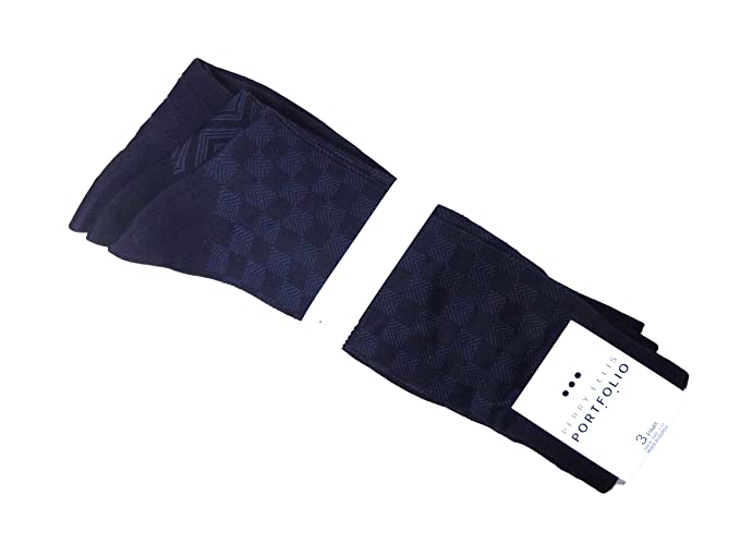 c0d27ba618 Image Unavailable. Image not available for. Color  Perry Ellis 3 pack  Square-rib Black One Size Men s Socks