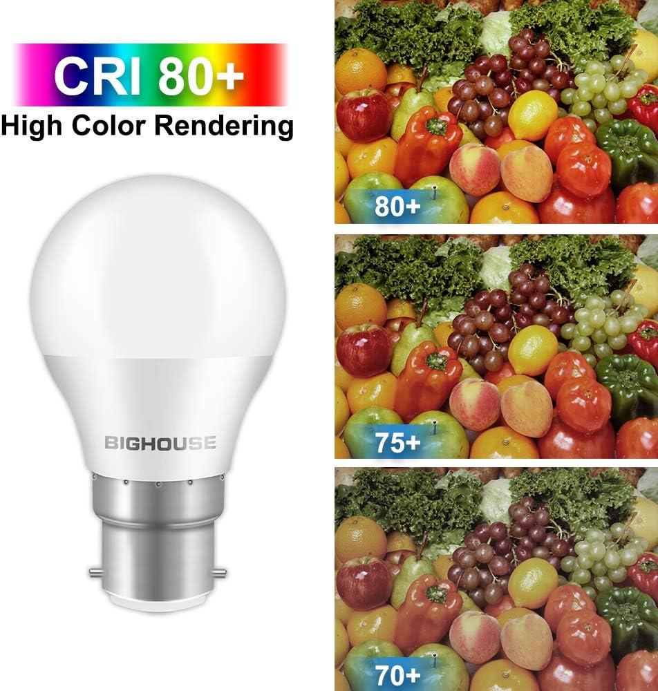 Warm White 3000K Non-Dimmable 6 Pack BIGHOUSE 5W 400Lumen B22 LED Bayonet Bulb 40W Halogen Bulb Equivalent G45 Energy Saving Light Bulb B22 LED Bulbs