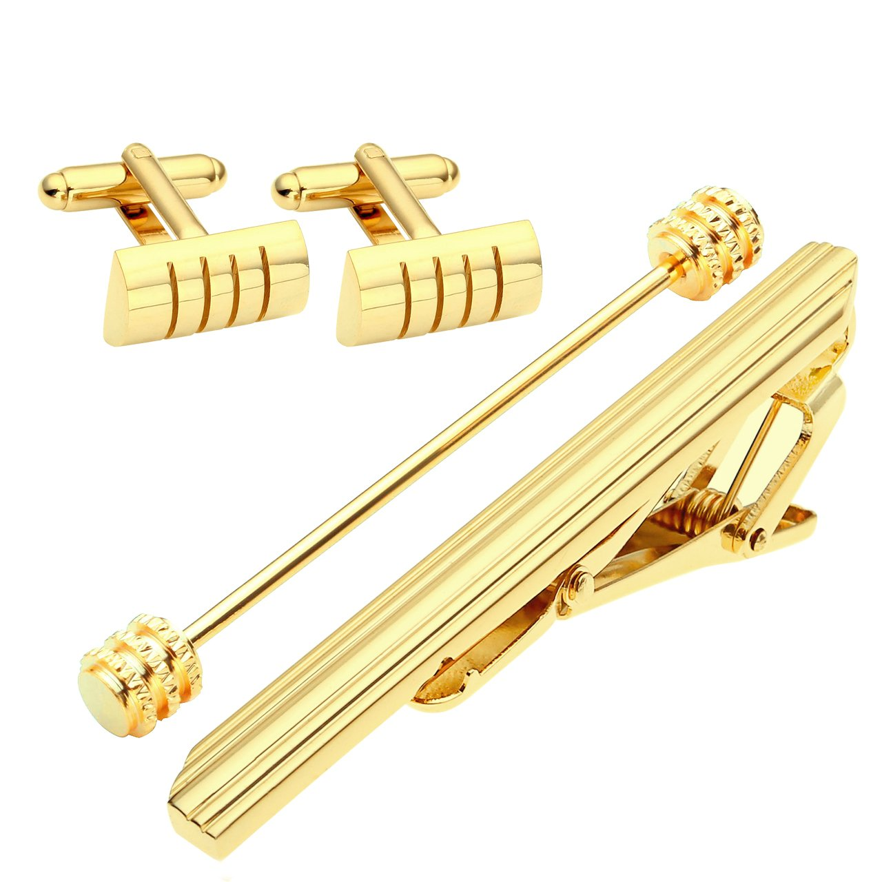 Zysta 4pcs Stainless Steel Men's Tie Clip + Cufflinks + Collar Bar Pin, Business Shirt Tie Clips Pins Necktie Clasp Lapel Stick Collar Brooch + Gift Box