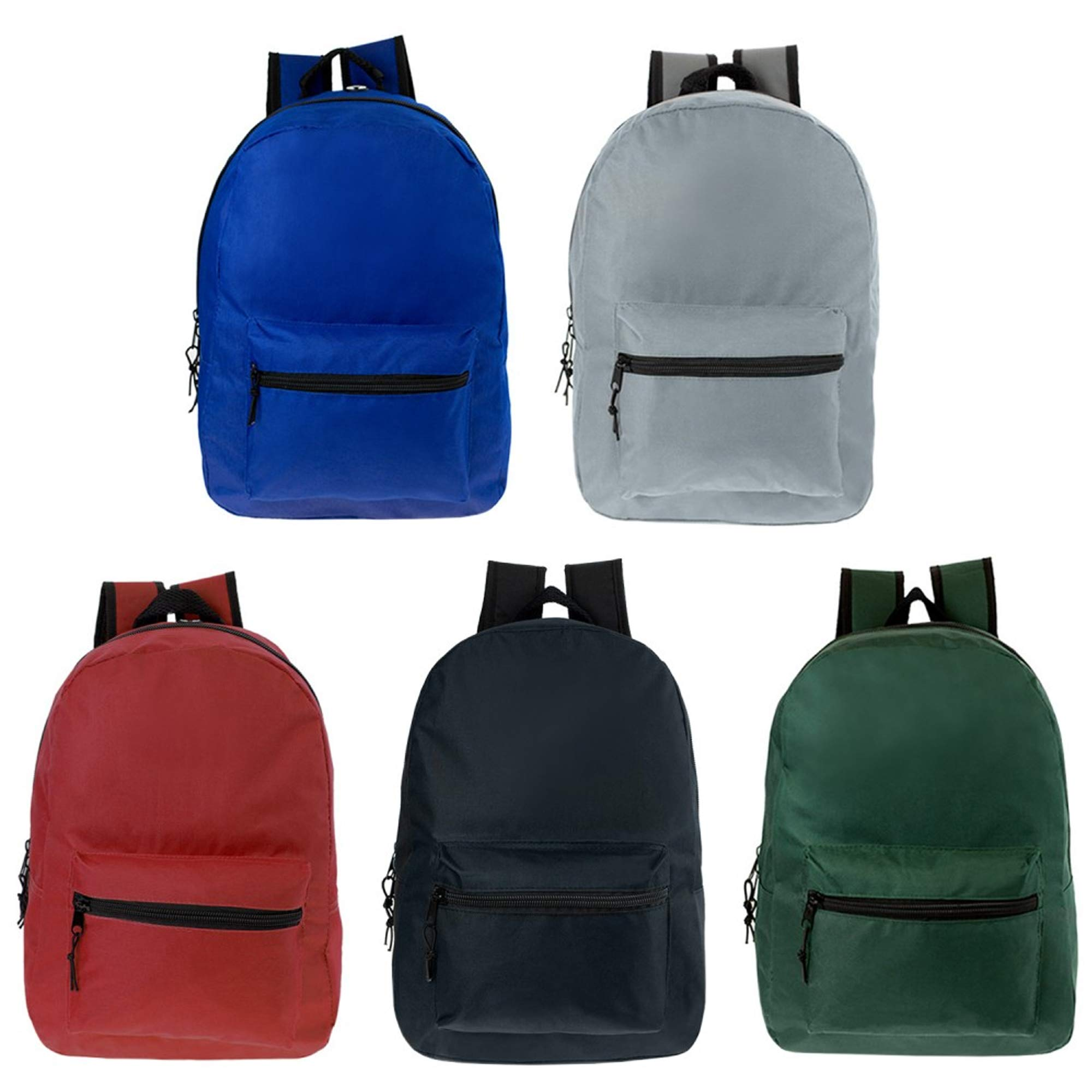17 Inch Wholesale Classic Backpack - Bulk Case of 24 Bookbags (5 Solid Colors) by Arctic Star