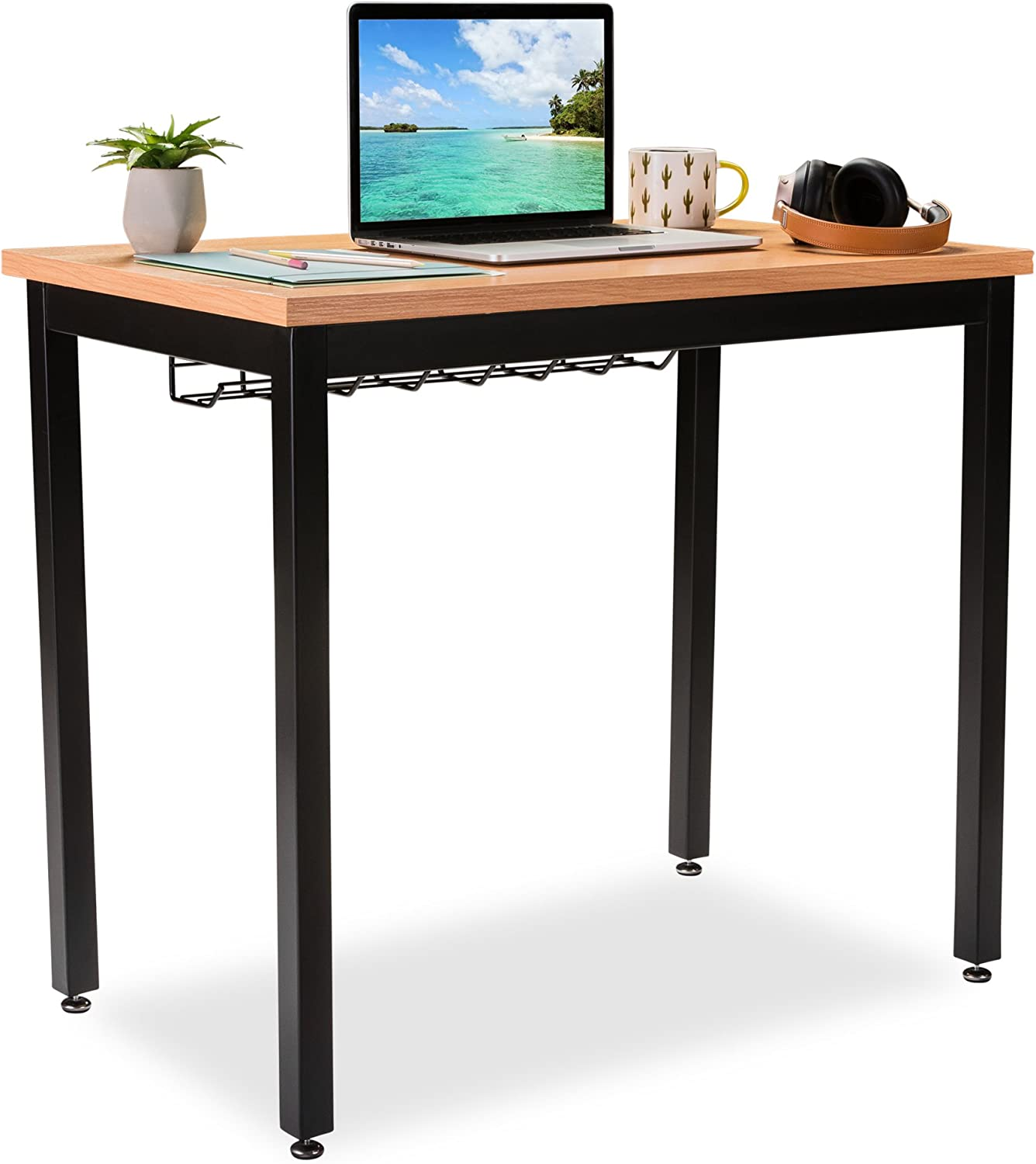 Amazon Com Small Computer Desk For Home Office 36 Length Table W Cable Organizer Sturdy And Heavy Duty Writing Desk For Small Spaces And Students Laptop Use Damage Free Promise Pear Kitchen Dining