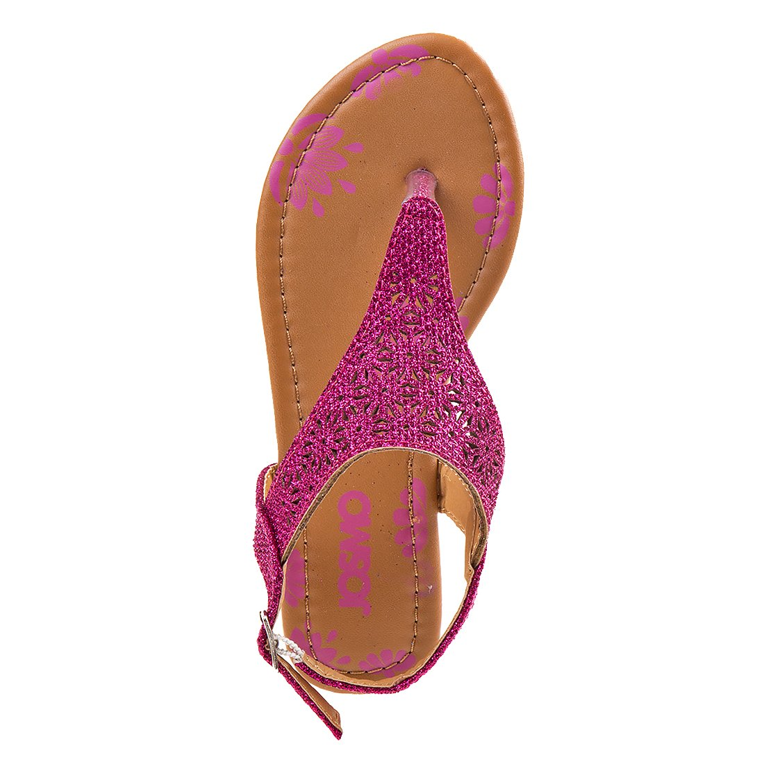 Josmo Girl's T-Strap Glitter Thong Sandals, Pink, 3 M US Big Kid' by Josmo (Image #3)