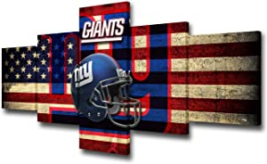 "TUMOVO New York Wall Art for Living Room NFC Modern Home Decor Canvas US Flag Picture NFL House Decorations Football Artwork Painting 5 Panel Framed Giclee Gallery-Wrapped Ready to Hang 50"" Wx24 H"