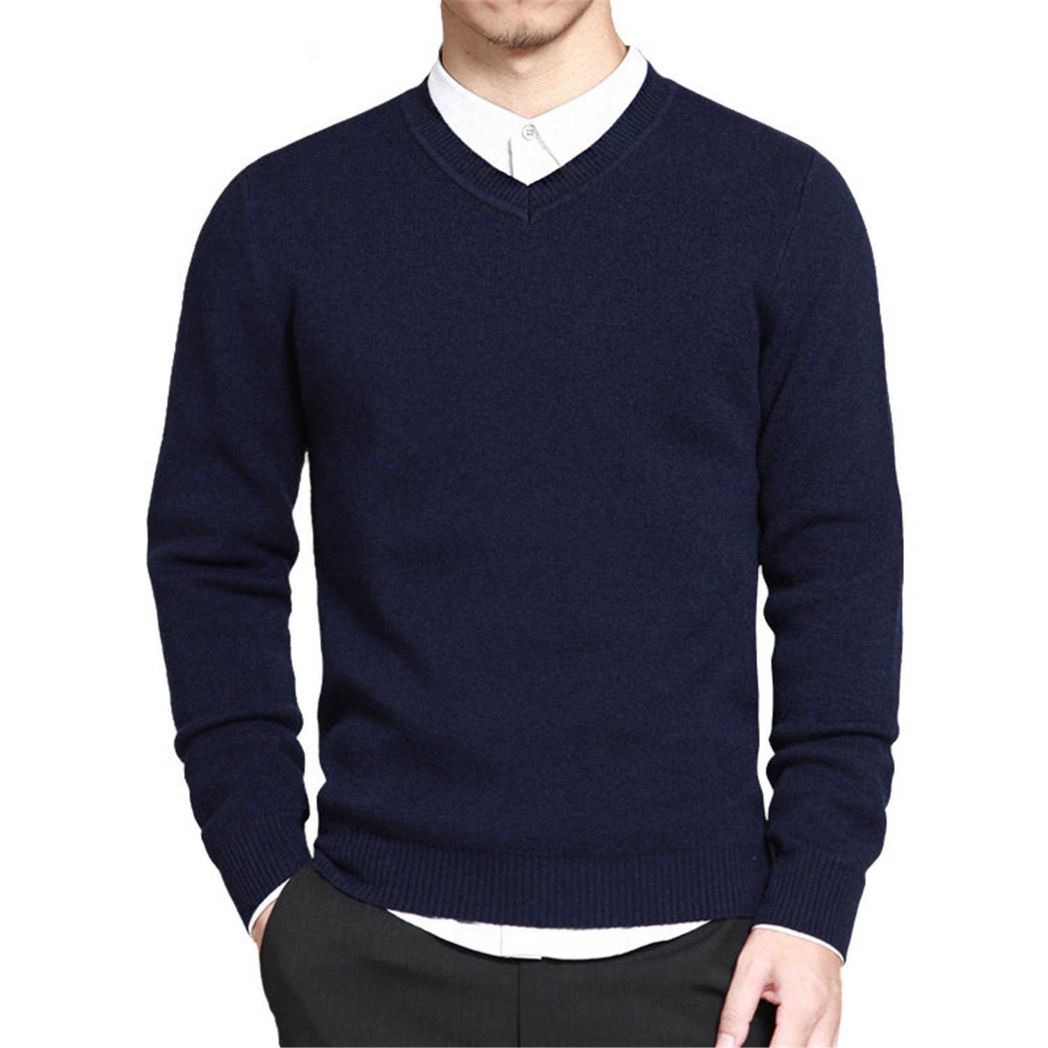 NeeKer Jacket Mens Sweater Pullovers Cotton Knitted V Neck Sweater Jumpers Thin Male Knitwear Blue Red Black M-4XL