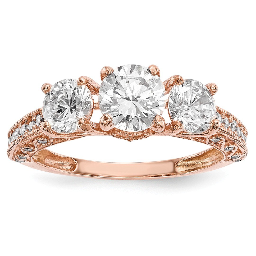 ICE CARATS 10k Tiara Collection Rose Gold Cubic Zirconia Cz Band Ring Size 7.00 Yc Fine Jewelry Ideal Mothers Day Gifts For Mom Women Gift Set From Heart