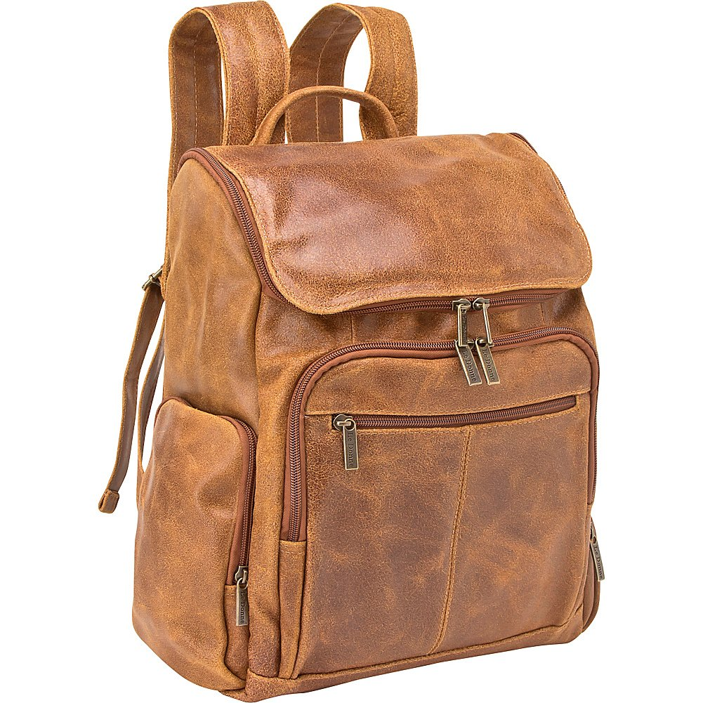 Le Donne Leather Distressed Leather Computer Backpack (Tan)