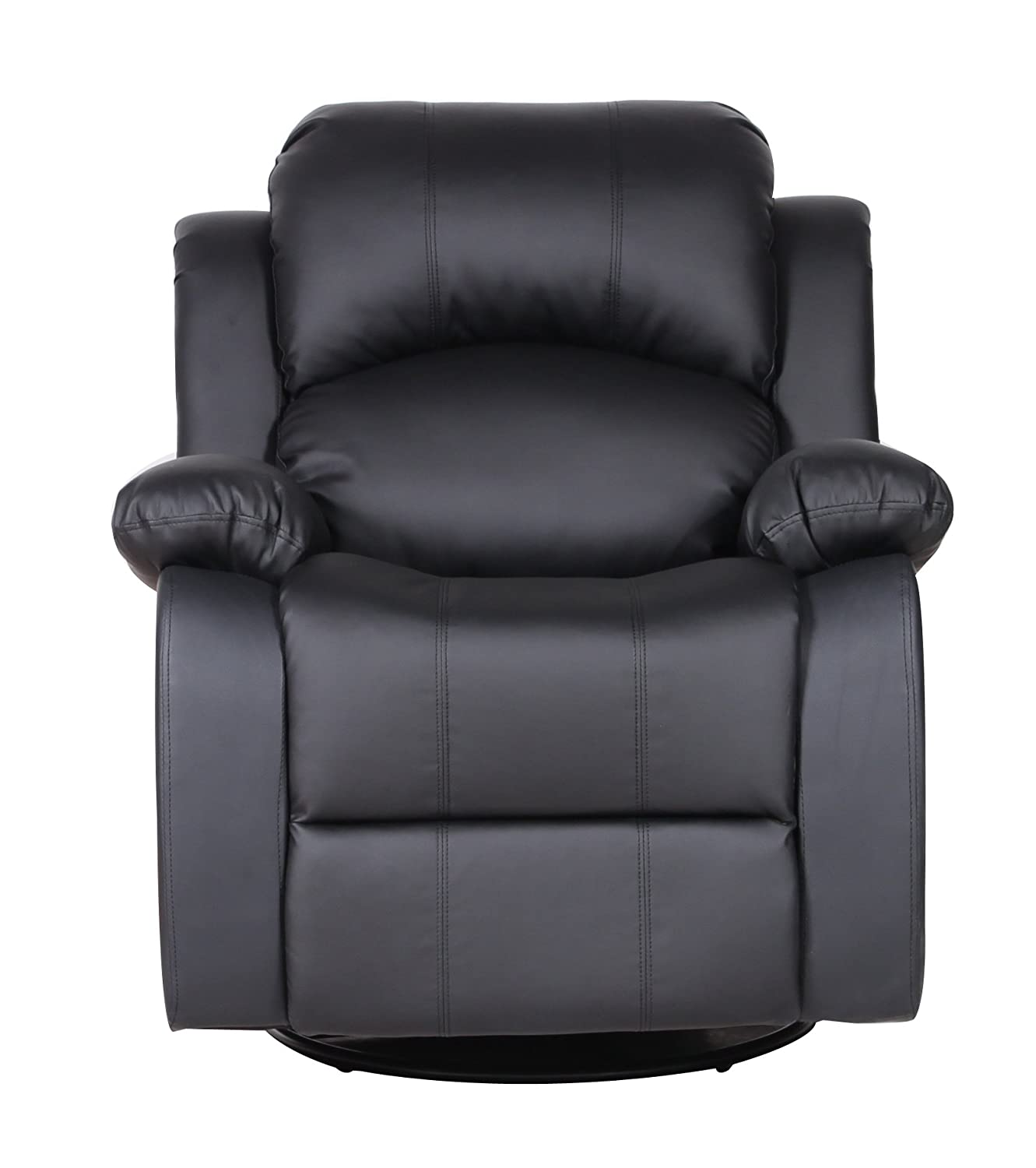 Amazon.com: Bonded Leather Rocker And Swivel Recliner Living Room Chair  (Black): Kitchen U0026 Dining