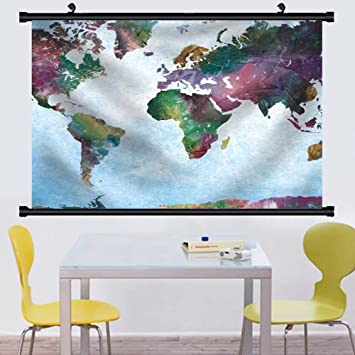 Amazon gzhihine wall scroll colorful watercolor world map on a gzhihine wall scroll colorful watercolor world map on a blue vignette background fabric home decor 88x104 gumiabroncs Images