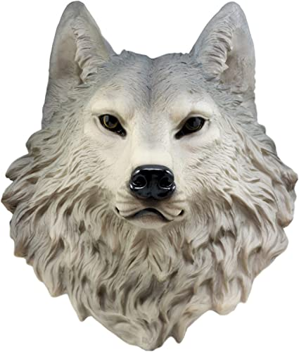 Ebros Gift Large Gray Timber Wolf Head Wall Decor Plaque 16.5″ Tall Taxidermy Art Decor Sculpture Canis Lupus Wall Bust Plaque