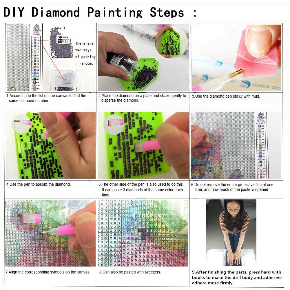 DIY hechos a mano diamantes pintados en peony resina de dise/ño puntada de cruz brillante decoraci/ón de puntada