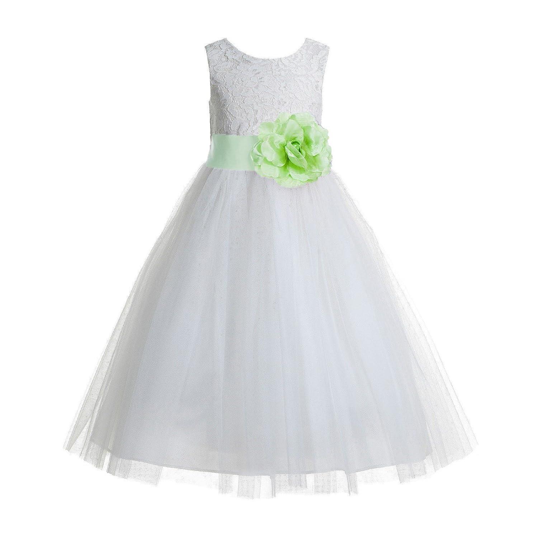 cd39d1d1e28 Amazon.com  ekidsbridal Floral Lace Heart Cutout Ivory Flower Girl Dresses  First Communion Dresses Baptism Dress 172T  Clothing