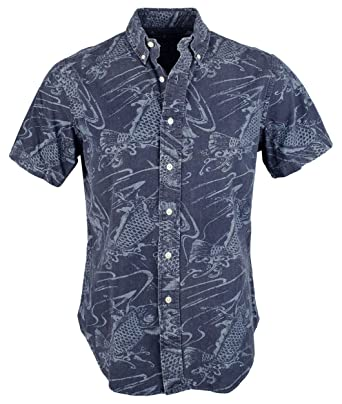 Polo Ralph Lauren Men\u0027s Slim-Fit Indigo Printed Short Sleeve Shirt (Navy) (