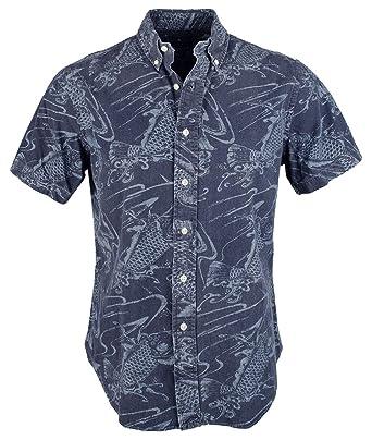 c83d133a54d94a Polo Ralph Lauren Men's Slim Fit Indigo Printed Short Sleeve Shirt, Navy  (Small)