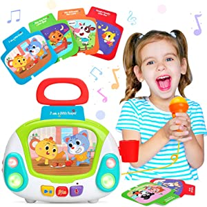 LUKAT Musical Toy for Toddlers, Kids Music Karaoke Machine with Microphone, Early Educational Toys Jukebox with Singing Recording & Voice Changing Function Gift for 1 2 3 4 Years Old Girls Boys
