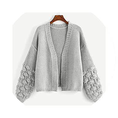 Campus Crochet Bishop Sleeve Marled Solid Cardigan Casual Sweater