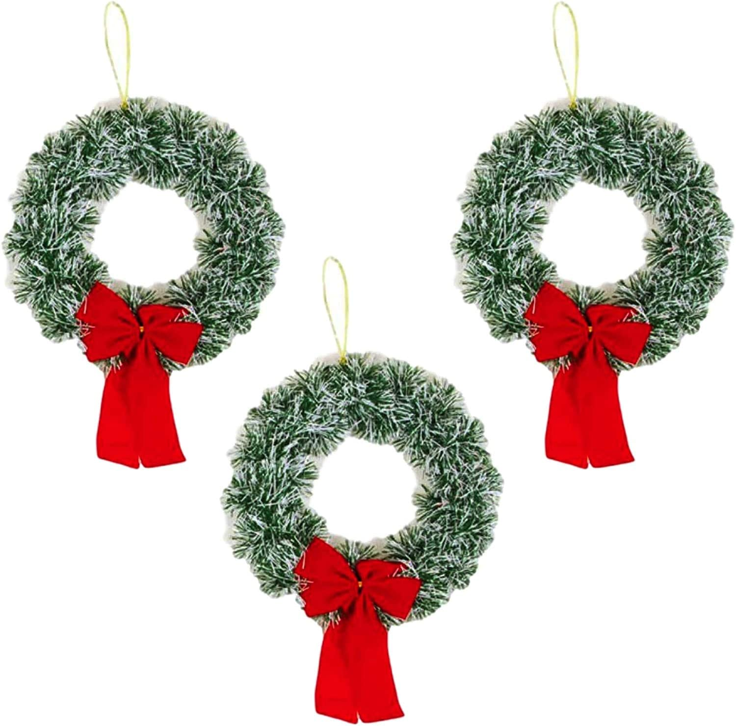 Plum Nellie Christmas Wreath Pine Snow Tips with Red Bow 9.5 Diameter Set of 3 Light Pine